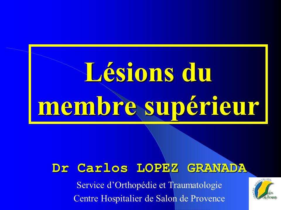 Lésions du membre supérieur Dr Carlos LOPEZ GRANADA Service dOrthopédie et Traumatologie Centre Hospitalier de Salon de Provence