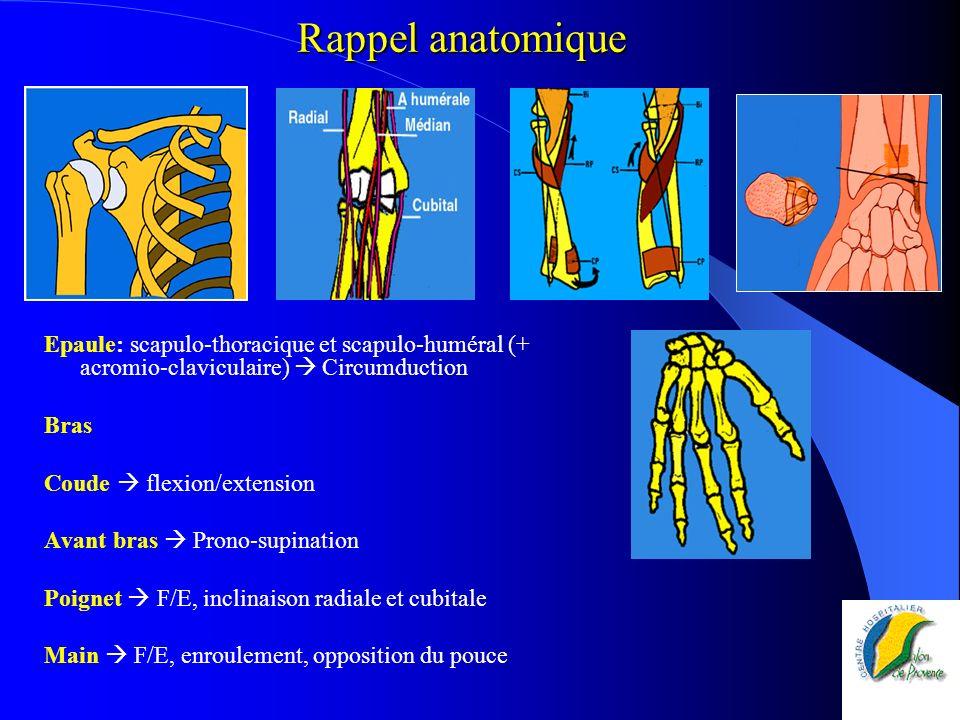 Rappel anatomique Epaule: scapulo-thoracique et scapulo-huméral (+ acromio-claviculaire) Circumduction Bras Coude flexion/extension Avant bras Prono-s