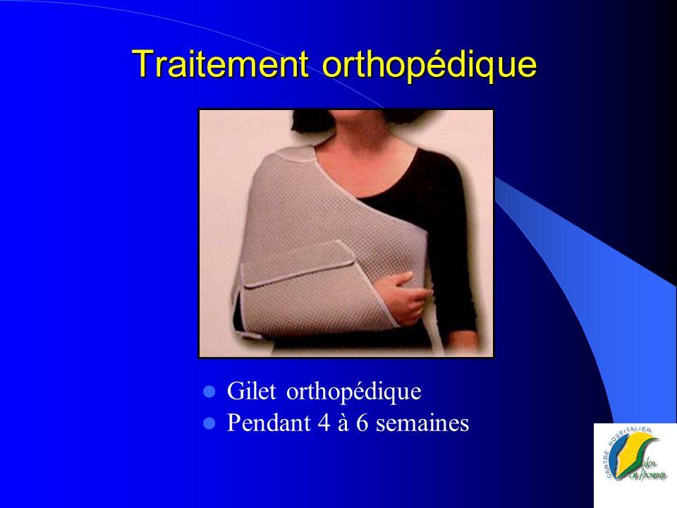 Traitement orthopédique Gilet orthopédique Pendant 4 à 6 semaines