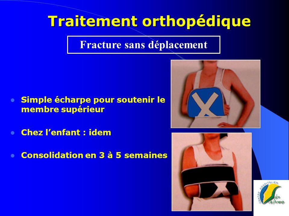 Traitement orthopédique Bandage en huit réglable Consolidation en 3 à 5 sem.
