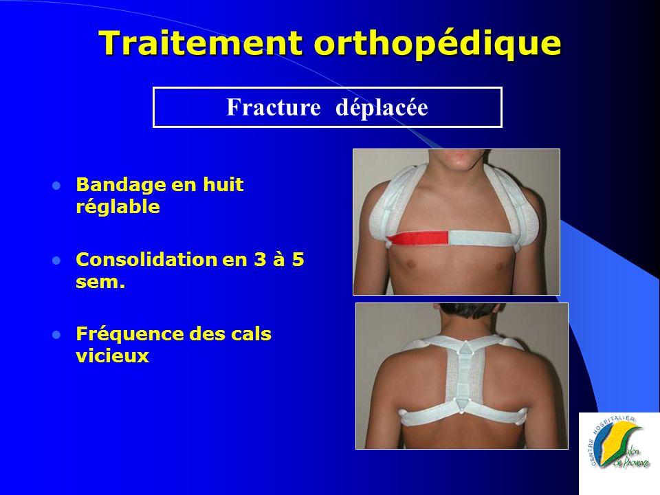Traitement orthopédique Bandage en huit réglable Consolidation en 3 à 5 sem. Fréquence des cals vicieux Fracture déplacée