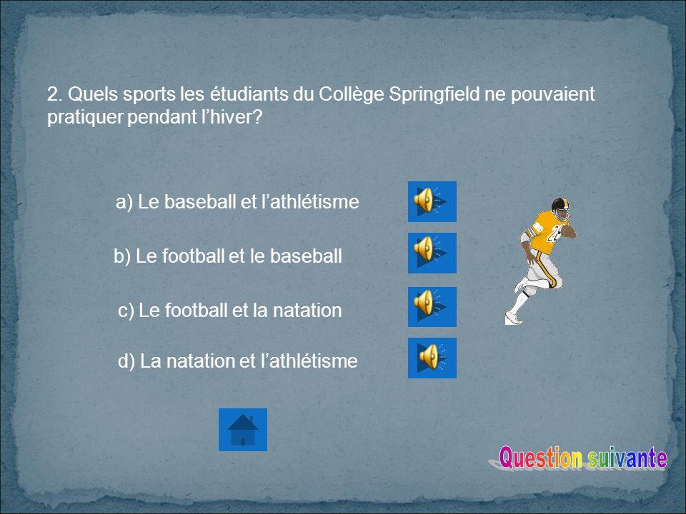 2.Quels sports les étudiants du Collège Springfield ne pouvaient pratiquer pendant lhiver.