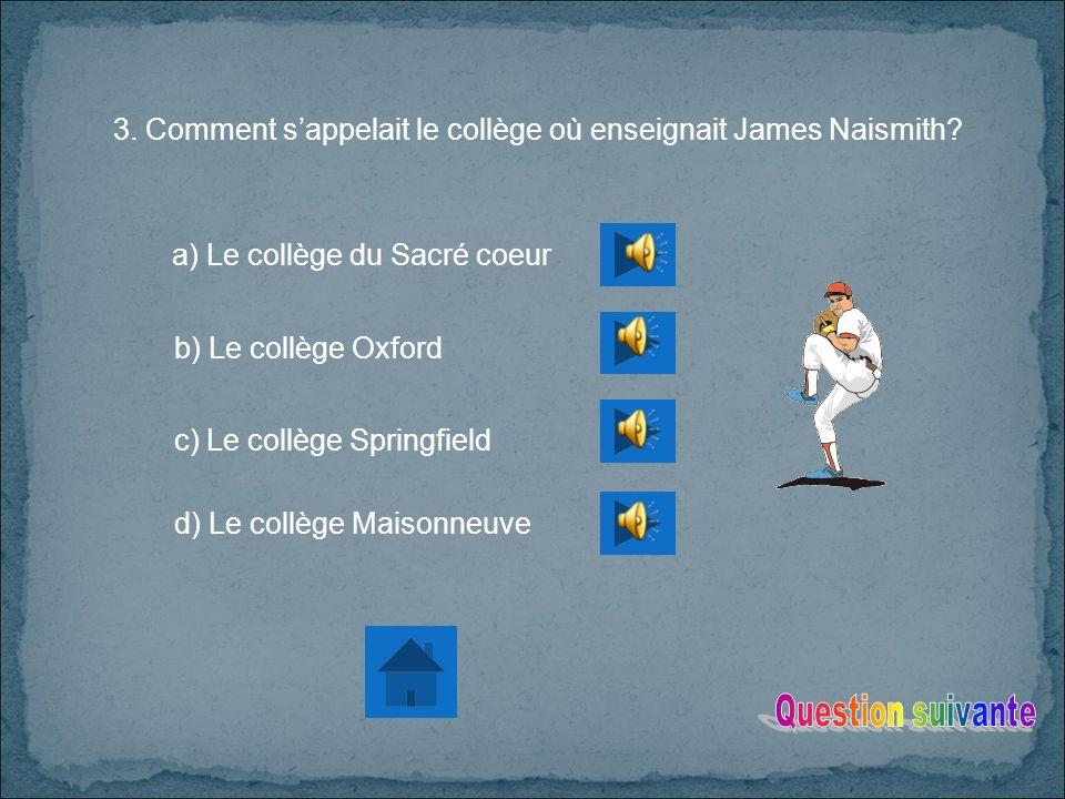 3.Comment sappelait le collège où enseignait James Naismith.