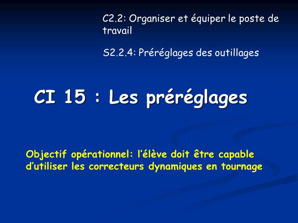 CI 15 : Les préréglages Objectif opérationnel: lélève doit être capable dutiliser les correcteurs dynamiques en tournage C2.2: Organiser et équiper le