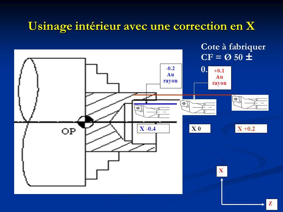 Usinage intérieur avec une correction en X X -0.4 -0.2 Au rayon +0.1 Au rayon X +0.2X 0 Cote à fabriquer CF = Ø 50 ± 0.1 X Z
