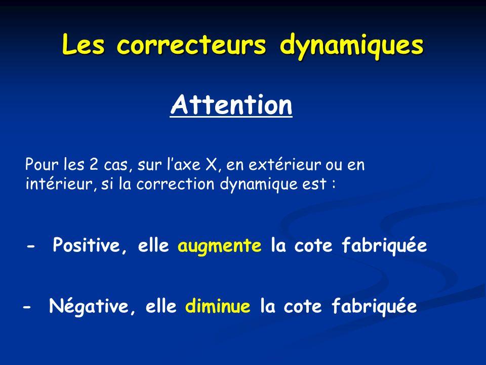 Attention Pour les 2 cas, sur laxe X, en extérieur ou en intérieur, si la correction dynamique est : Les correcteurs dynamiques - Positive, elle augme
