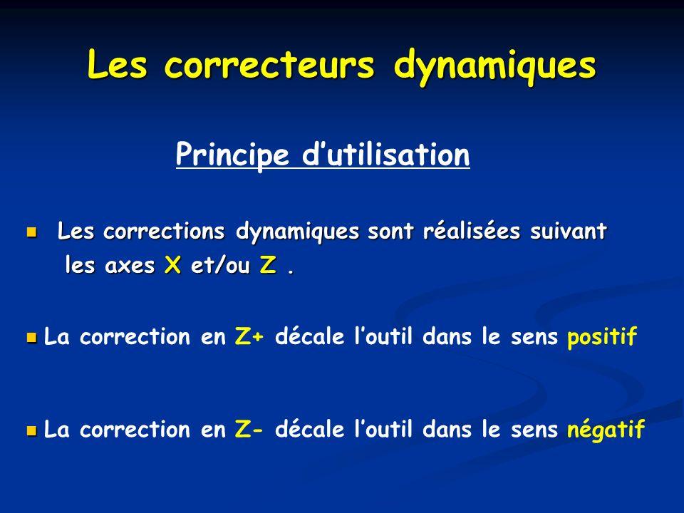 Les correcteurs dynamiques Principe dutilisation Les corrections dynamiques sont réalisées suivant Les corrections dynamiques sont réalisées suivant l