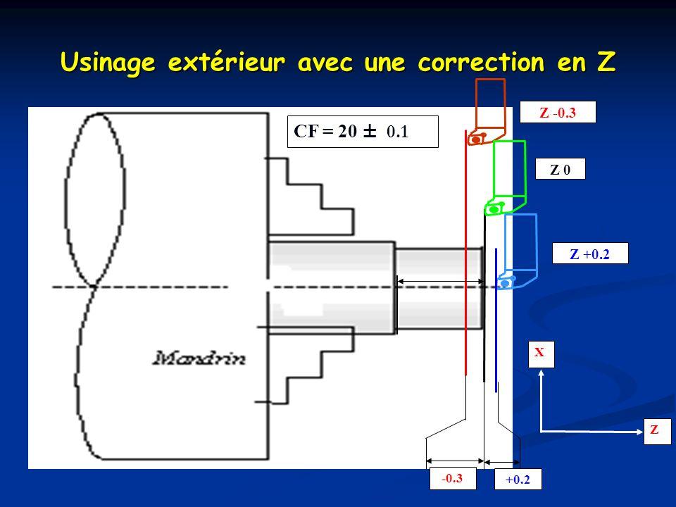 Repérer la cote à fabriquer et calculer la cote nominale à obtenir Repérer la cote à fabriquer et calculer la cote nominale à obtenir Usiner la pièce avec un correcteur dynamique de 0,9 mm Usiner la pièce avec un correcteur dynamique de 0,9 mm Contrôler la pièce Contrôler la pièce Calculer la correction dynamique pour obtenir la cote demandée Calculer la correction dynamique pour obtenir la cote demandée Introduire cette valeur dans la MOCN Introduire cette valeur dans la MOCN Valeur < 1mm Valeur < 1mm Elle sajoute automatiquement à la précédente Elle sajoute automatiquement à la précédente Les correcteurs dynamiques Procédure pour affiner une correction dynamique :