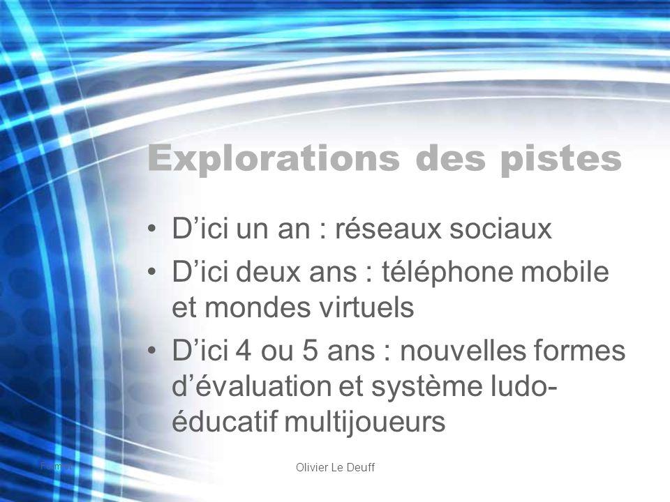 Formist Olivier Le Deuff Explorations des pistes Dici un an : réseaux sociaux Dici deux ans : téléphone mobile et mondes virtuels Dici 4 ou 5 ans : no