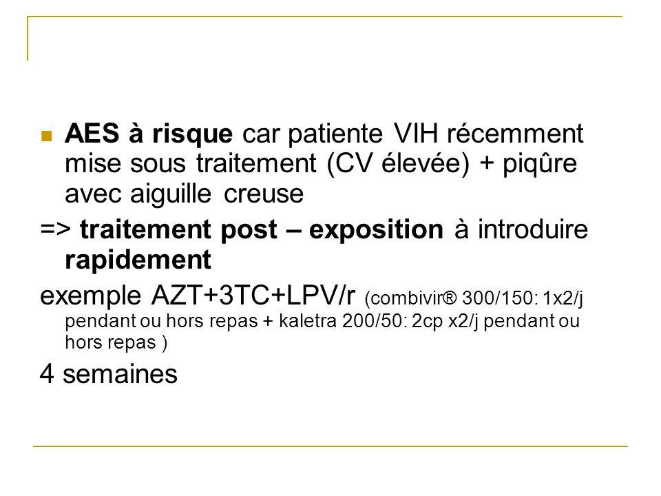 AES à risque car patiente VIH récemment mise sous traitement (CV élevée) + piqûre avec aiguille creuse => traitement post – exposition à introduire ra