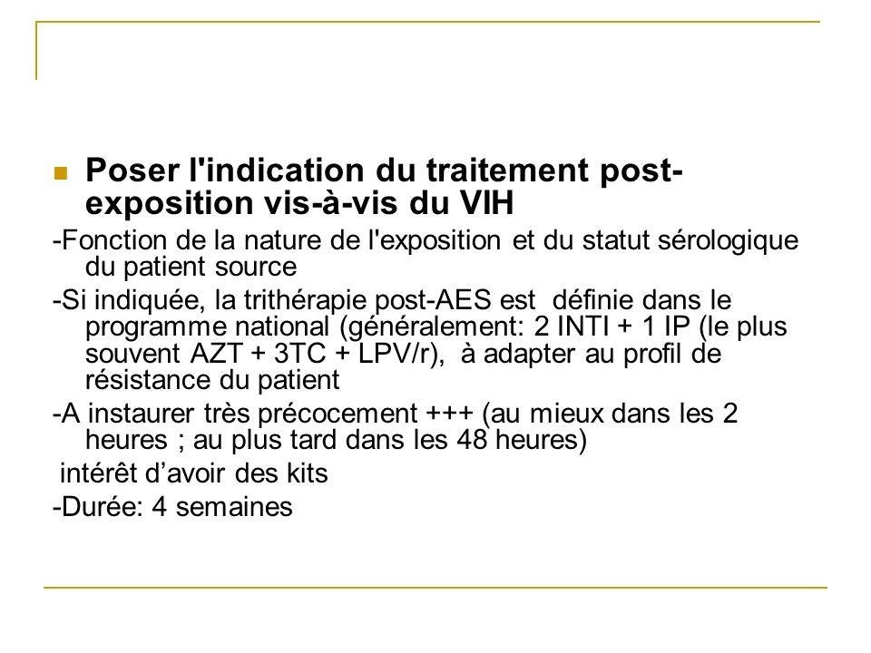 Poser l'indication du traitement post- exposition vis-à-vis du VIH -Fonction de la nature de l'exposition et du statut sérologique du patient source -