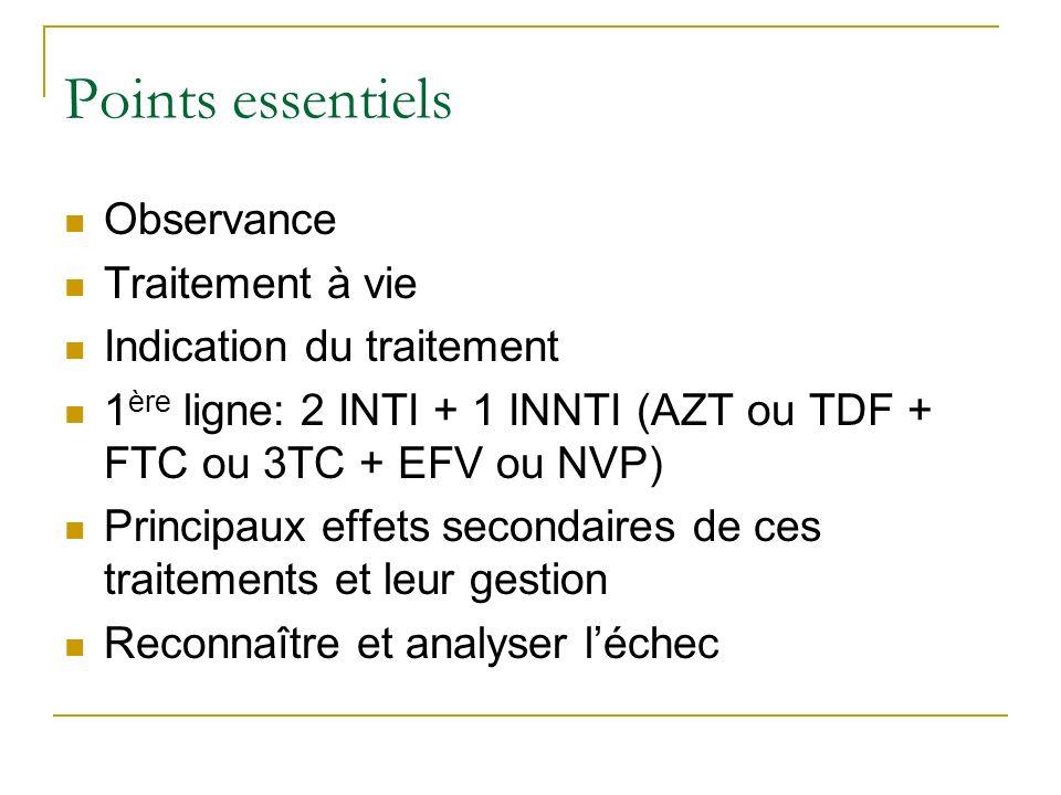 Points essentiels Observance Traitement à vie Indication du traitement 1 ère ligne: 2 INTI + 1 INNTI (AZT ou TDF + FTC ou 3TC + EFV ou NVP) Principaux