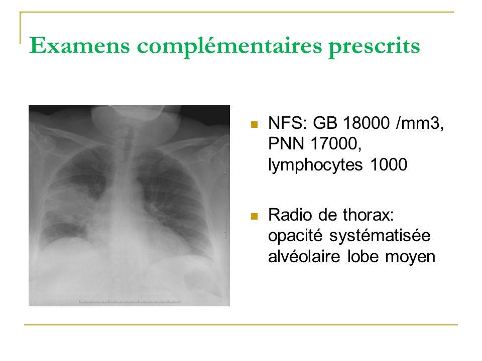 Examens complémentaires prescrits NFS: GB 18000 /mm3, PNN 17000, lymphocytes 1000 Radio de thorax: opacité systématisée alvéolaire lobe moyen