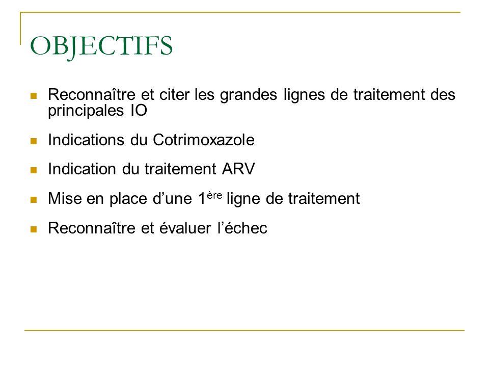 OBJECTIFS Reconnaître et citer les grandes lignes de traitement des principales IO Indications du Cotrimoxazole Indication du traitement ARV Mise en p