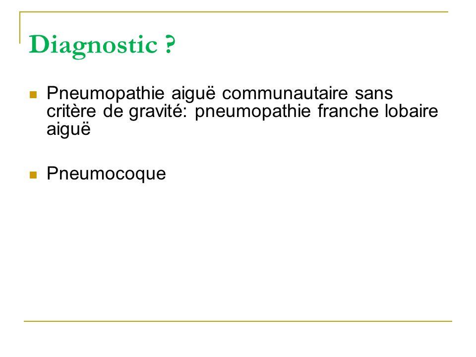 Diagnostic ? Pneumopathie aiguë communautaire sans critère de gravité: pneumopathie franche lobaire aiguë Pneumocoque