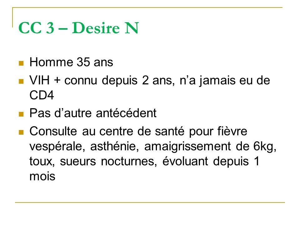 CC 3 – Desire N Homme 35 ans VIH + connu depuis 2 ans, na jamais eu de CD4 Pas dautre antécédent Consulte au centre de santé pour fièvre vespérale, as