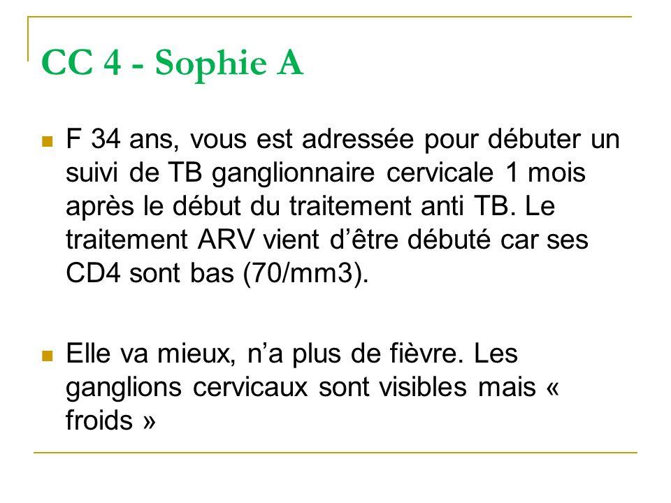 CC 4 - Sophie A F 34 ans, vous est adressée pour débuter un suivi de TB ganglionnaire cervicale 1 mois après le début du traitement anti TB. Le traite