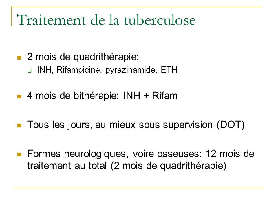 Traitement de la tuberculose 2 mois de quadrithérapie: INH, Rifampicine, pyrazinamide, ETH 4 mois de bithérapie: INH + Rifam Tous les jours, au mieux