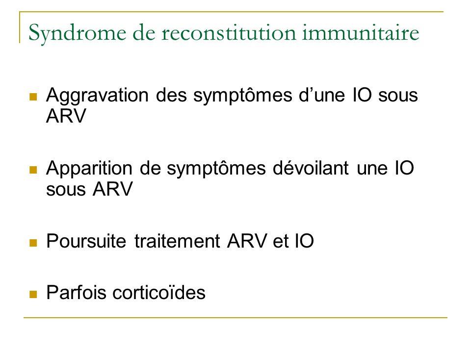 Syndrome de reconstitution immunitaire Aggravation des symptômes dune IO sous ARV Apparition de symptômes dévoilant une IO sous ARV Poursuite traiteme