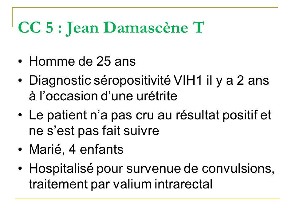 CC 5 : Jean Damascène T Homme de 25 ans Diagnostic séropositivité VIH1 il y a 2 ans à loccasion dune urétrite Le patient na pas cru au résultat positi