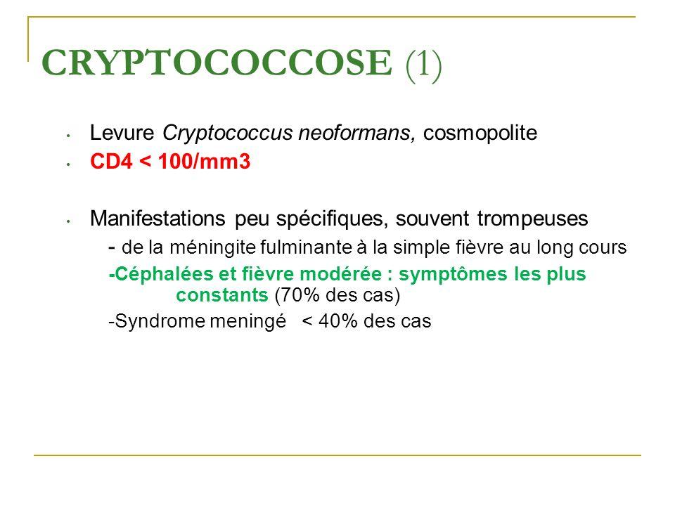 CRYPTOCOCCOSE (1) Levure Cryptococcus neoformans, cosmopolite CD4 < 100/mm3 Manifestations peu spécifiques, souvent trompeuses - de la méningite fulmi