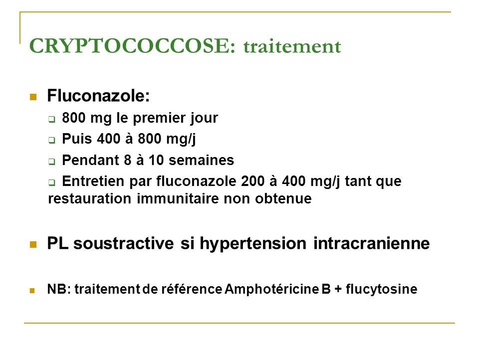 CRYPTOCOCCOSE: traitement Fluconazole: 800 mg le premier jour Puis 400 à 800 mg/j Pendant 8 à 10 semaines Entretien par fluconazole 200 à 400 mg/j tan