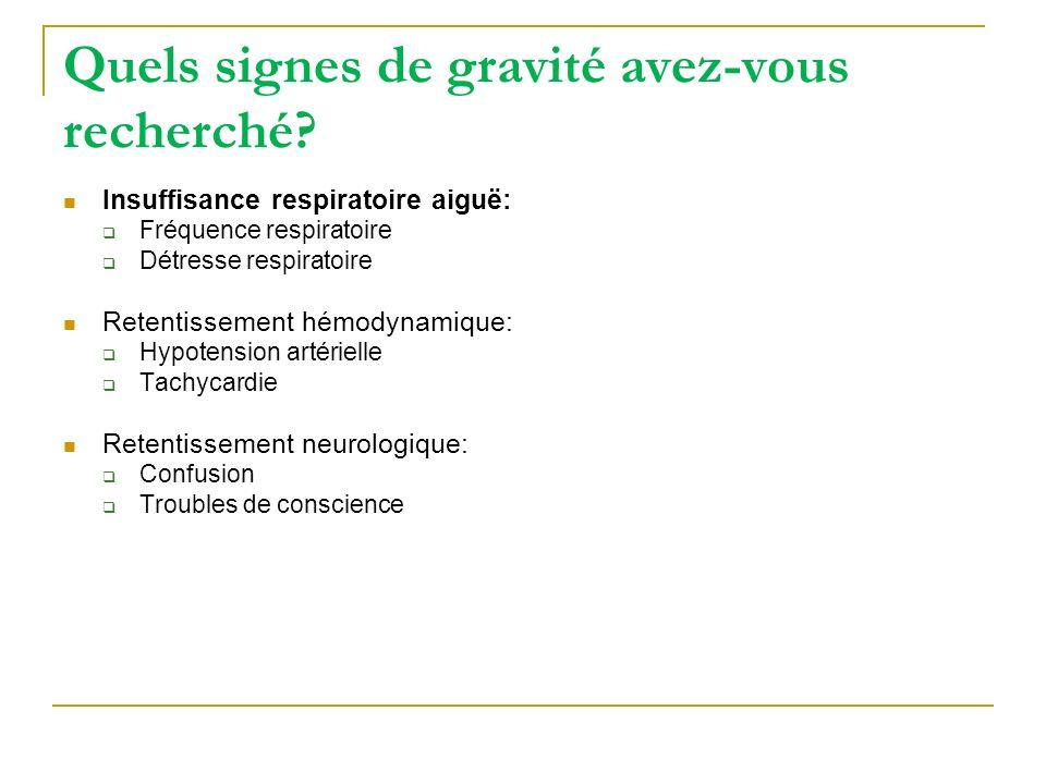 Quels signes de gravité avez-vous recherché? Insuffisance respiratoire aiguë: Fréquence respiratoire Détresse respiratoire Retentissement hémodynamiqu