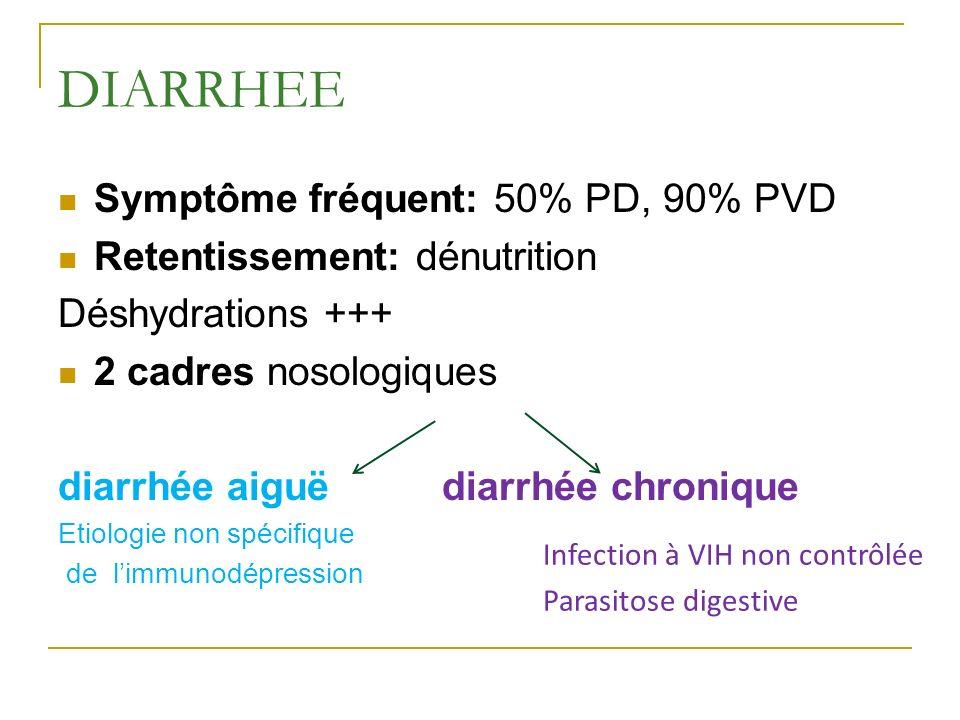 DIARRHEE Symptôme fréquent: 50% PD, 90% PVD Retentissement: dénutrition Déshydrations +++ 2 cadres nosologiques diarrhée aiguëdiarrhée chronique Etiol