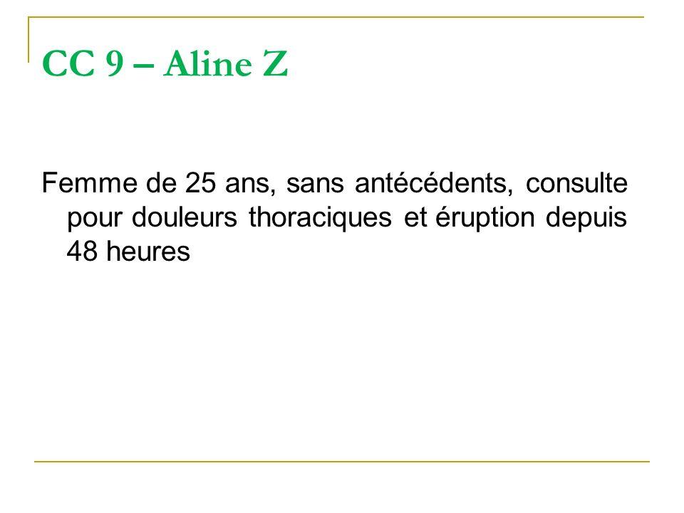 CC 9 – Aline Z Femme de 25 ans, sans antécédents, consulte pour douleurs thoraciques et éruption depuis 48 heures
