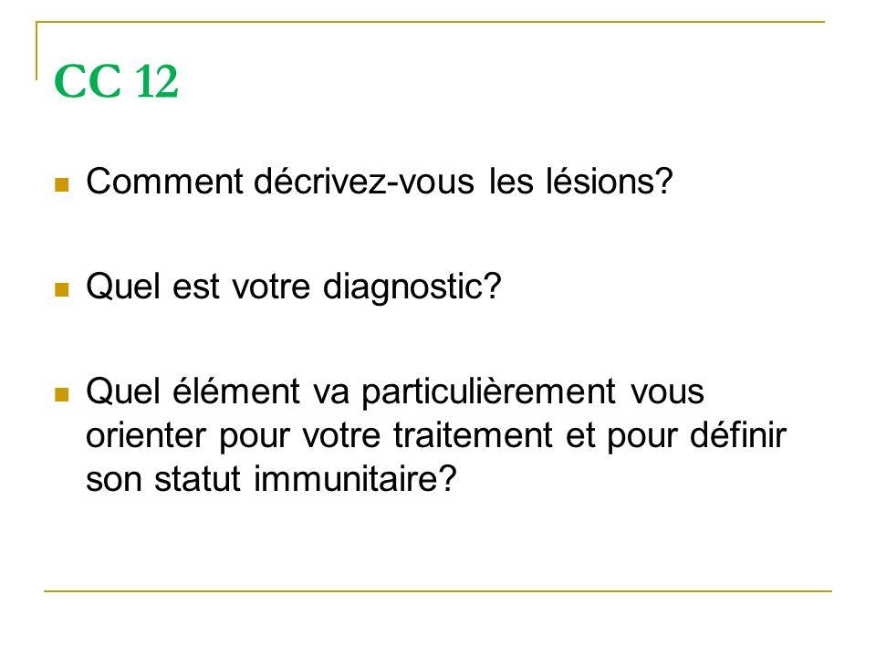 CC 12 Comment décrivez-vous les lésions? Quel est votre diagnostic? Quel élément va particulièrement vous orienter pour votre traitement et pour défin