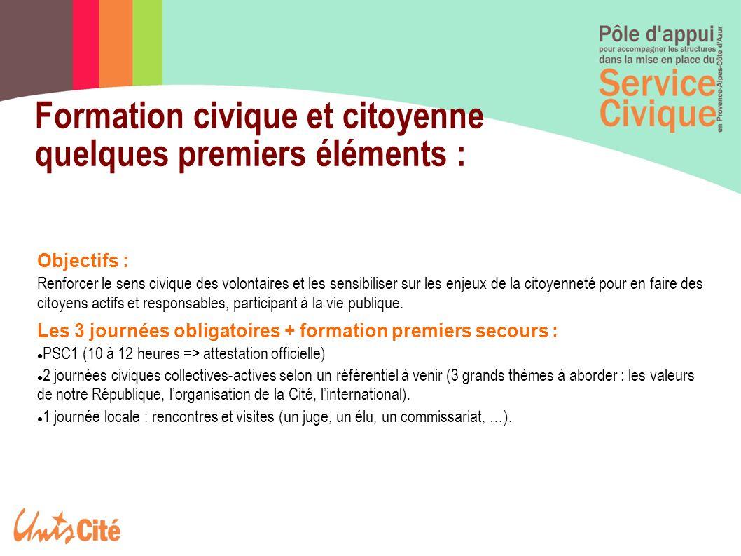 Formation civique et citoyenne quelques premiers éléments : Objectifs : Renforcer le sens civique des volontaires et les sensibiliser sur les enjeux d