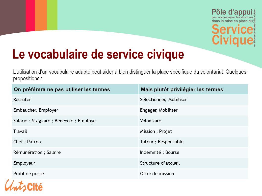 Le vocabulaire de service civique Lutilisation dun vocabulaire adapté peut aider à bien distinguer la place spécifique du volontariat. Quelques propos