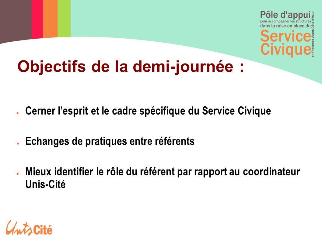 Objectifs de la demi-journée : Cerner lesprit et le cadre spécifique du Service Civique Echanges de pratiques entre référents Mieux identifier le rôle