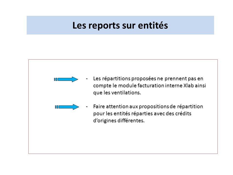Les reports sur entités -Les répartitions proposées ne prennent pas en compte le module facturation interne Xlab ainsi que les ventilations. -Faire at