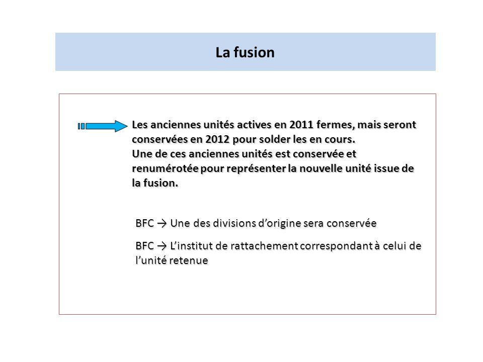 La fusion BFC Une des divisions dorigine sera conservée Les anciennes unités actives en 2011 fermes, mais seront conservées en 2012 pour solder les en