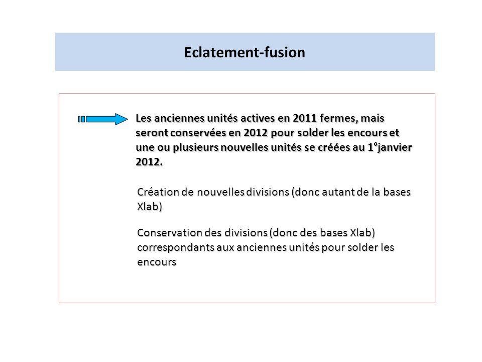 Eclatement-fusion Les anciennes unités actives en 2011 fermes, mais seront conservées en 2012 pour solder les encours et une ou plusieurs nouvelles un