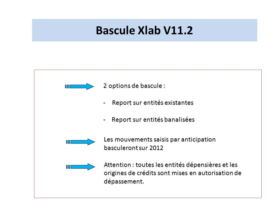 Bascule Xlab V11.2 2 options de bascule : -Report sur entités existantes - Report sur entités banalisées Les mouvements saisis par anticipation bascul