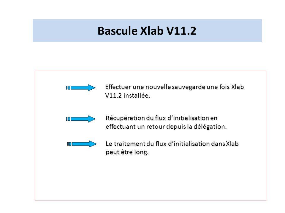 Bascule Xlab V11.2 Effectuer une nouvelle sauvegarde une fois Xlab V11.2 installée. Récupération du flux dinitialisation en effectuant un retour depui