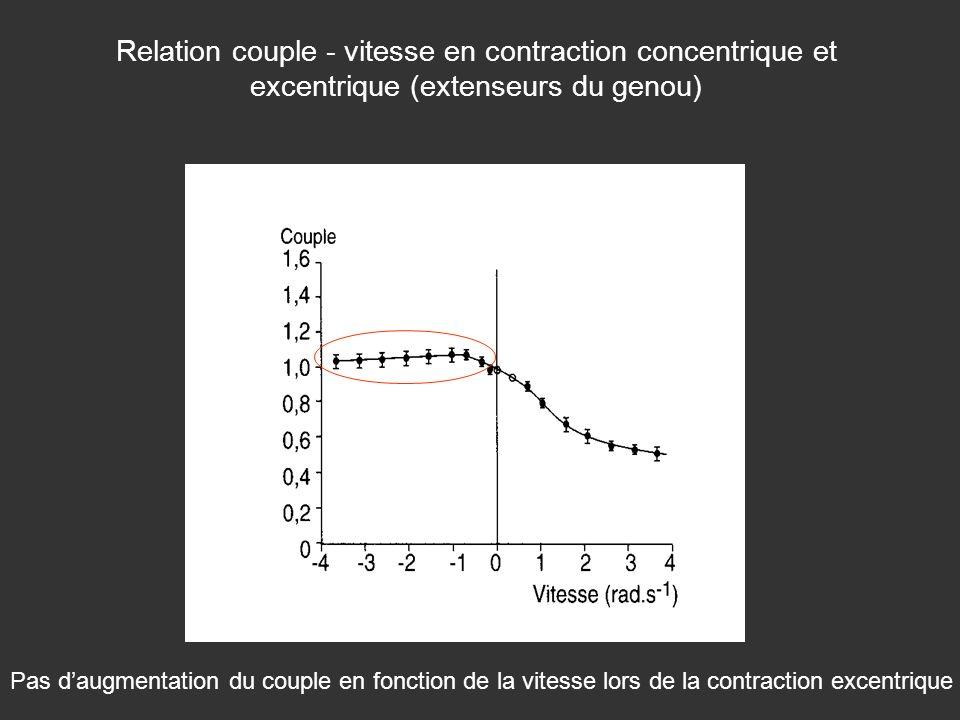 Relation couple - vitesse en contraction concentrique et excentrique (extenseurs du genou) Pas daugmentation du couple en fonction de la vitesse lors