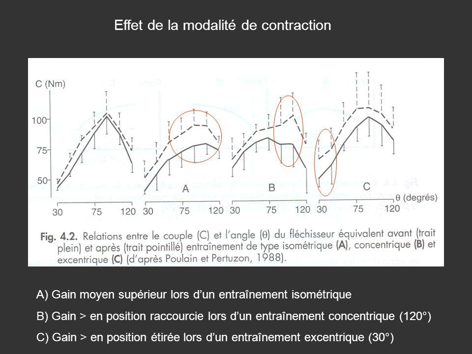 Effet de la modalité de contraction A) Gain moyen supérieur lors dun entraînement isométrique B) Gain > en position raccourcie lors dun entraînement c
