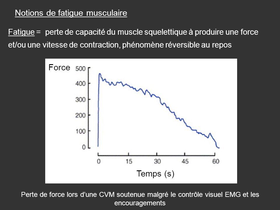 Notions de fatigue musculaire Fatigue = perte de capacité du muscle squelettique à produire une force et/ou une vitesse de contraction, phénomène réve