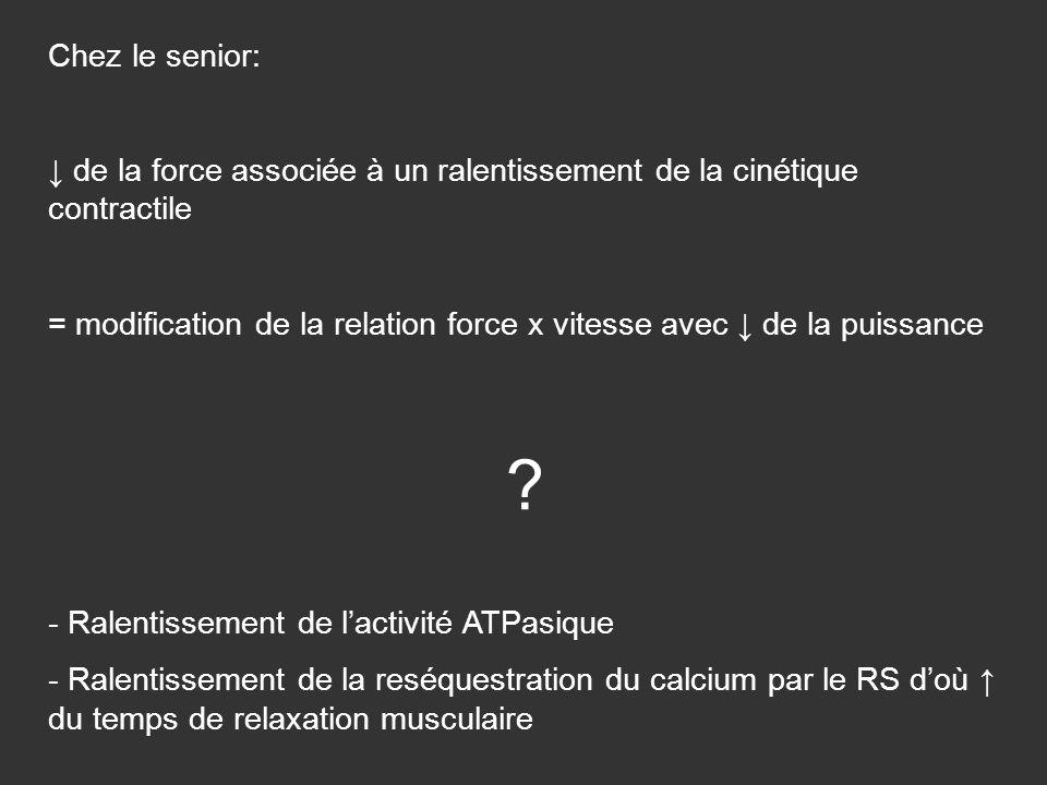 Chez le senior: de la force associée à un ralentissement de la cinétique contractile = modification de la relation force x vitesse avec de la puissanc