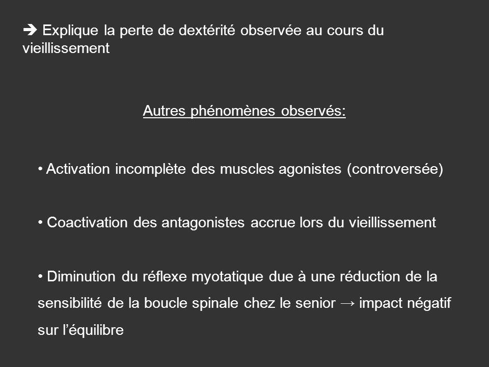 Autres phénomènes observés: Activation incomplète des muscles agonistes (controversée) Coactivation des antagonistes accrue lors du vieillissement Dim