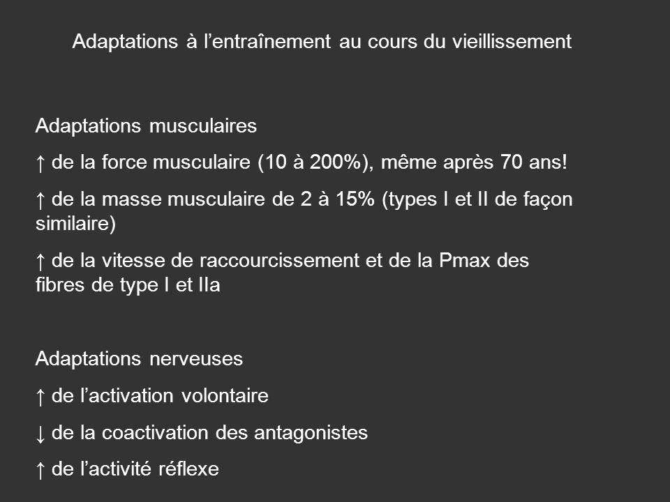 Adaptations musculaires de la force musculaire (10 à 200%), même après 70 ans! de la masse musculaire de 2 à 15% (types I et II de façon similaire) de