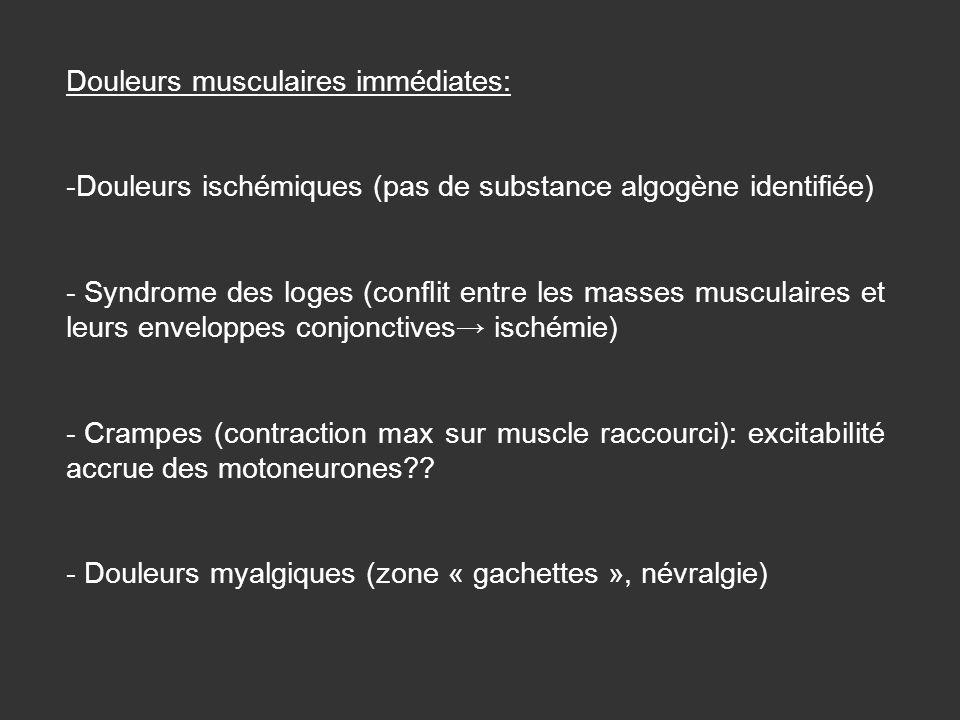 Douleurs musculaires immédiates: -Douleurs ischémiques (pas de substance algogène identifiée) - Syndrome des loges (conflit entre les masses musculair