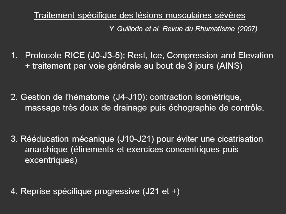 Traitement spécifique des lésions musculaires sévères Y. Guillodo et al. Revue du Rhumatisme (2007) 1.Protocole RICE (J0-J3-5): Rest, Ice, Compression