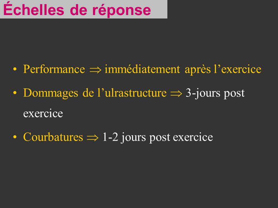 Performance immédiatement après lexercice Dommages de lulrastructure 3-jours post exercice Courbatures 1-2 jours post exercice Échelles de réponse