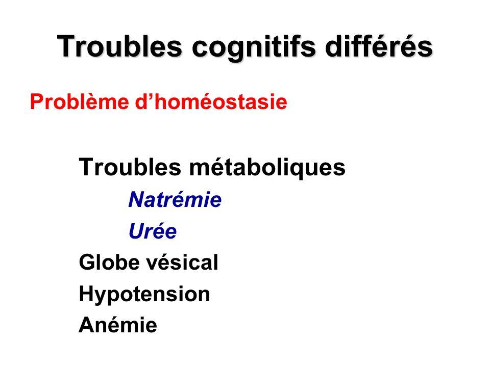Troubles cognitifs différés Problème dhoméostasie Troubles métaboliques Natrémie Urée Globe vésical Hypotension Anémie