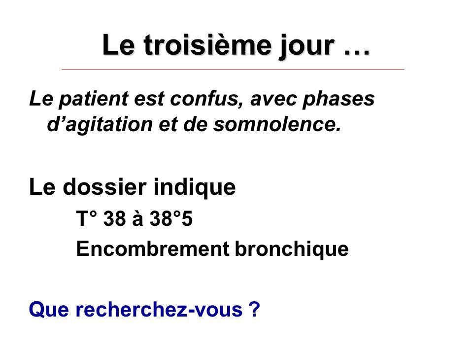Le troisième jour … Le patient est confus, avec phases dagitation et de somnolence. Le dossier indique T° 38 à 38°5 Encombrement bronchique Que recher