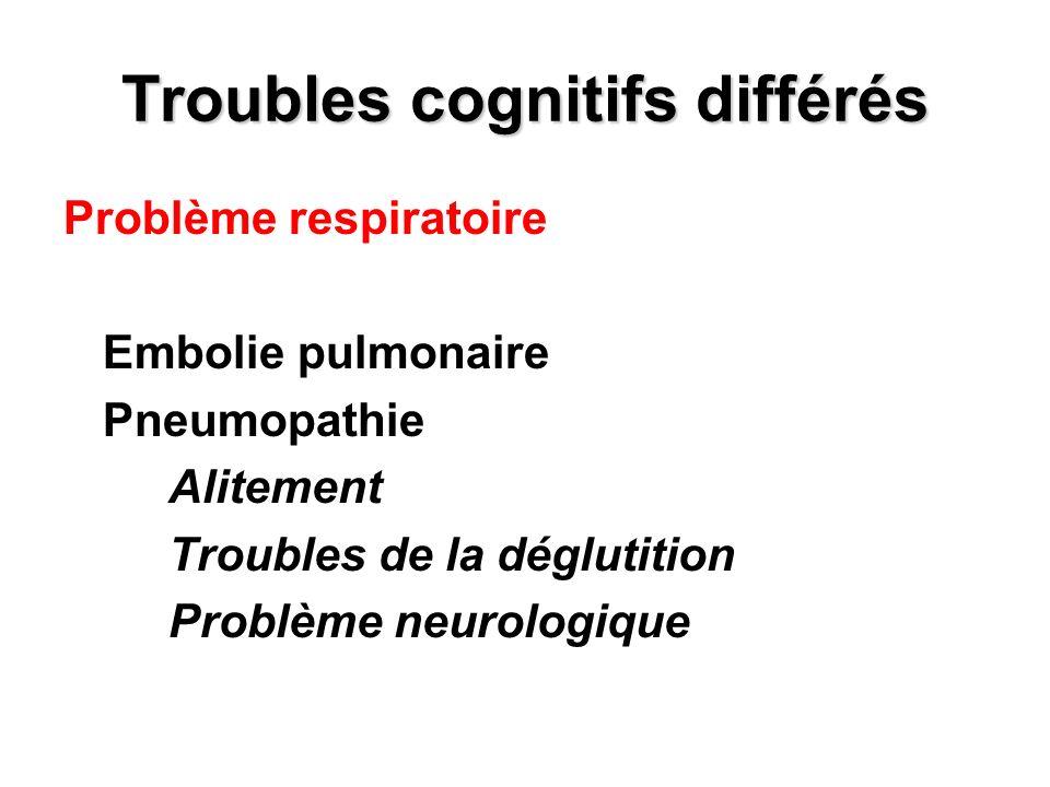 Troubles cognitifs différés Problème respiratoire Embolie pulmonaire Pneumopathie Alitement Troubles de la déglutition Problème neurologique